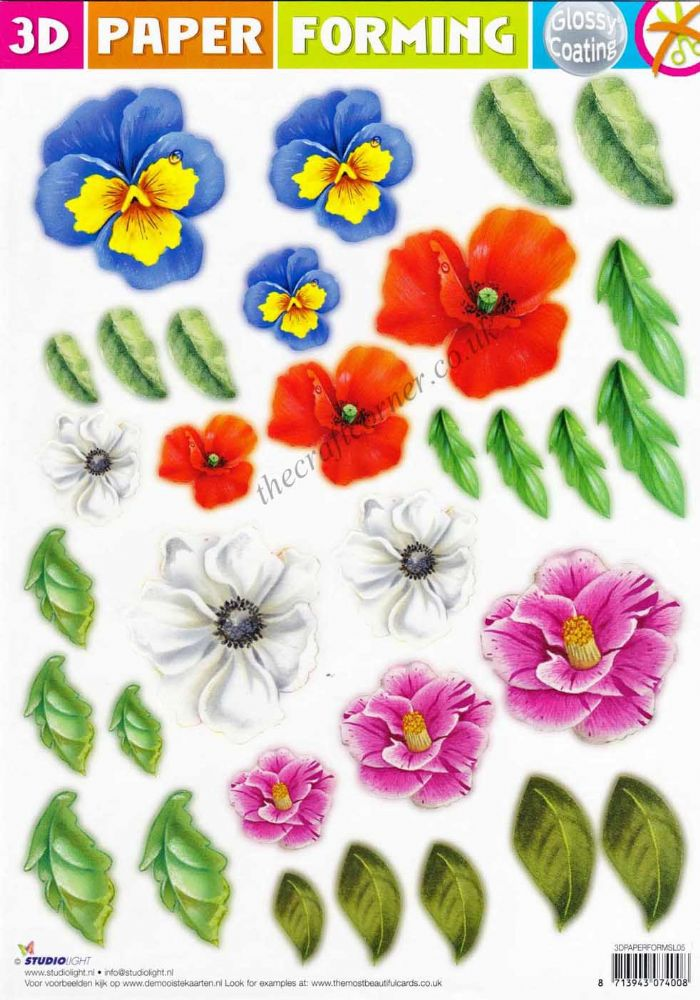 Poppy And Mixed Flowers Paper Forming Die Cut 3d Decoupage
